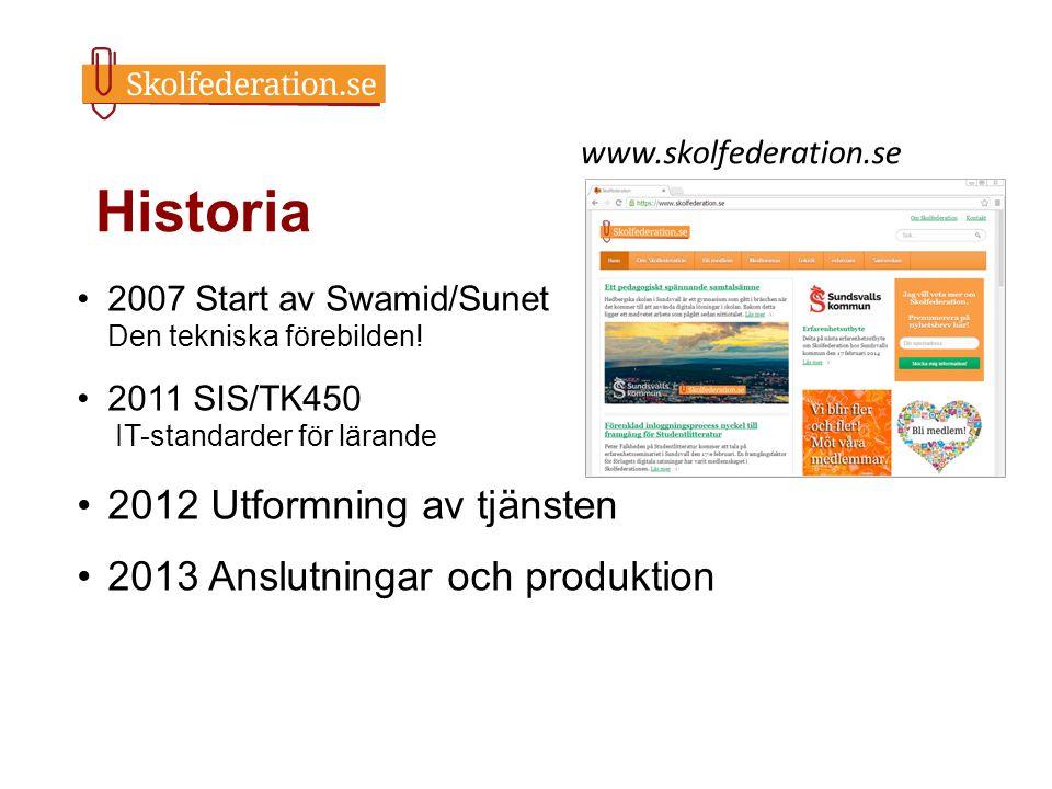 Historia 2007 Start av Swamid/Sunet Den tekniska förebilden! 2011 SIS/TK450 IT-standarder för lärande 2012 Utformning av tjänsten 2013 Anslutningar oc