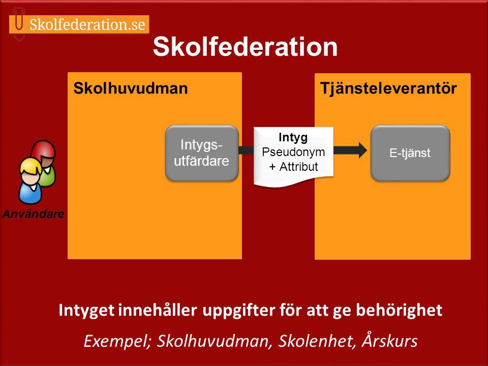 E-tjänst TjänsteleverantörSkolhuvudman Användare Intygs- utfärdare Skolfederation Intyg Pseudonym + Attribut Intyg Pseudonym + Attribut Intyget innehå