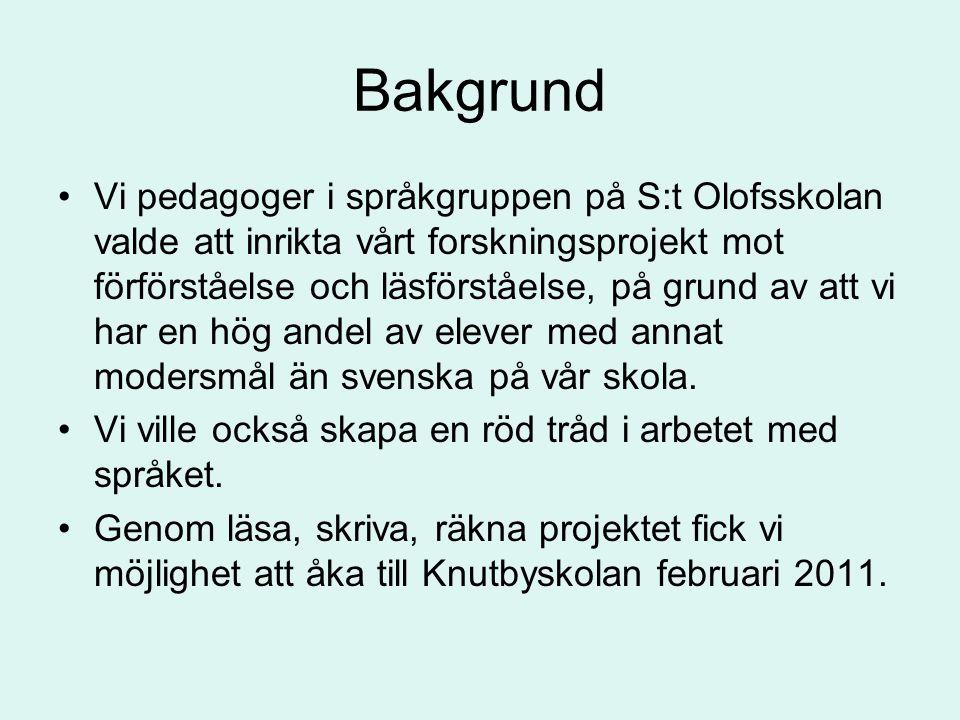 Bakgrund Vi pedagoger i språkgruppen på S:t Olofsskolan valde att inrikta vårt forskningsprojekt mot förförståelse och läsförståelse, på grund av att vi har en hög andel av elever med annat modersmål än svenska på vår skola.