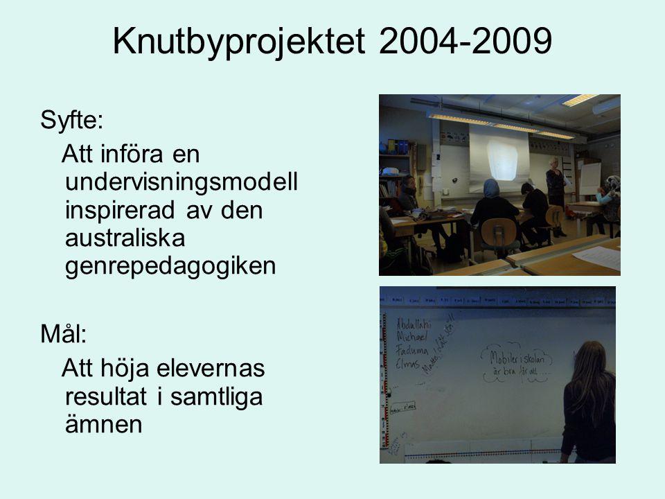 Knutbyprojektet 2004-2009 Syfte: Att införa en undervisningsmodell inspirerad av den australiska genrepedagogiken Mål: Att höja elevernas resultat i samtliga ämnen