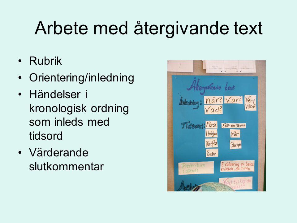Arbete med återgivande text Rubrik Orientering/inledning Händelser i kronologisk ordning som inleds med tidsord Värderande slutkommentar