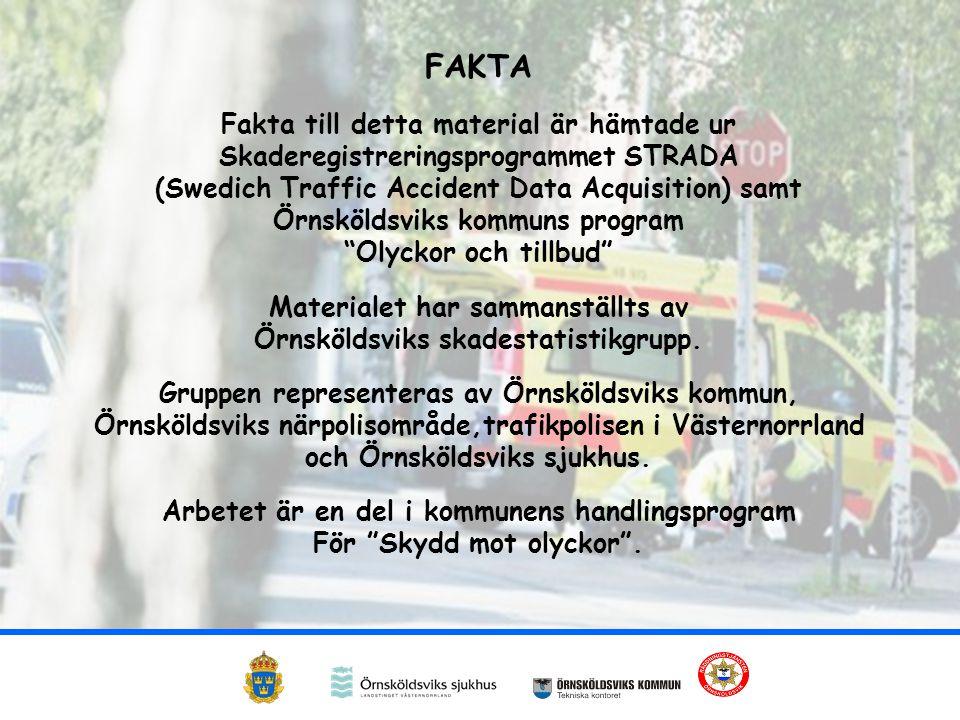 FAKTA Fakta till detta material är hämtade ur Skaderegistreringsprogrammet STRADA (Swedich Traffic Accident Data Acquisition) samt Örnsköldsviks kommuns program Olyckor och tillbud Materialet har sammanställts av Örnsköldsviks skadestatistikgrupp.