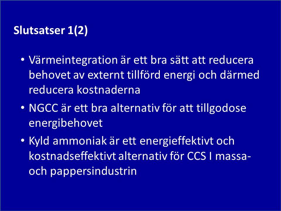 Värmeintegration är ett bra sätt att reducera behovet av externt tillförd energi och därmed reducera kostnaderna NGCC är ett bra alternativ för att tillgodose energibehovet Kyld ammoniak är ett energieffektivt och kostnadseffektivt alternativ för CCS I massa- och pappersindustrin Slutsatser 1(2)