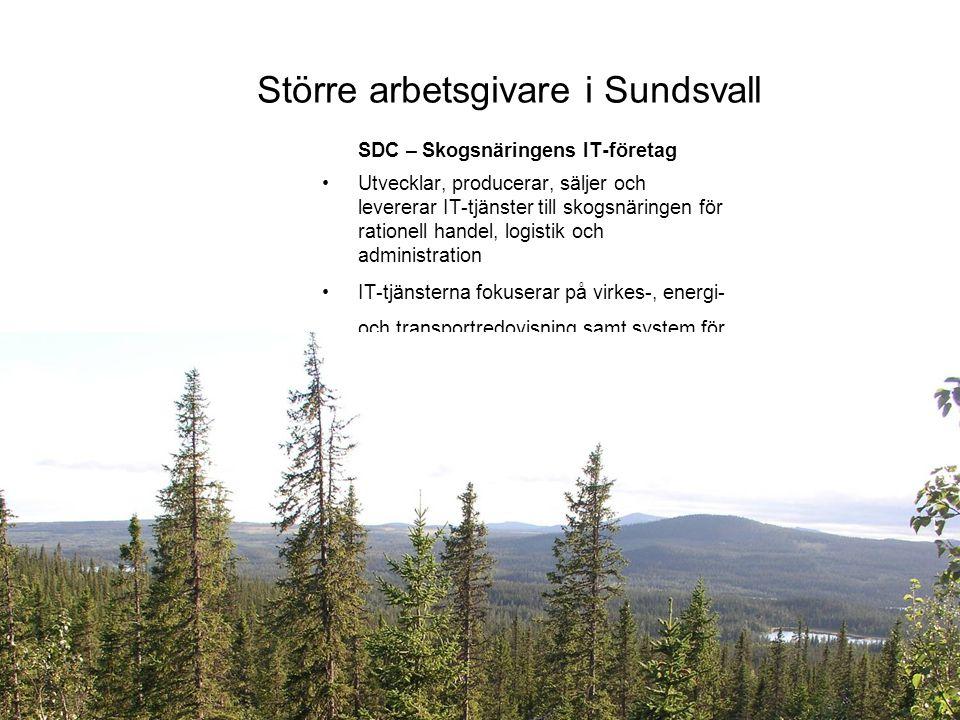 Större arbetsgivare i Sundsvall SDC – Skogsnäringens IT-företag Utvecklar, producerar, säljer och levererar IT-tjänster till skogsnäringen för rationell handel, logistik och administration IT-tjänsterna fokuserar på virkes-, energi- och transportredovisning samt system för virkesflödet från skog till industri 110 anställda Omsätter ca 120 miljoner kronor