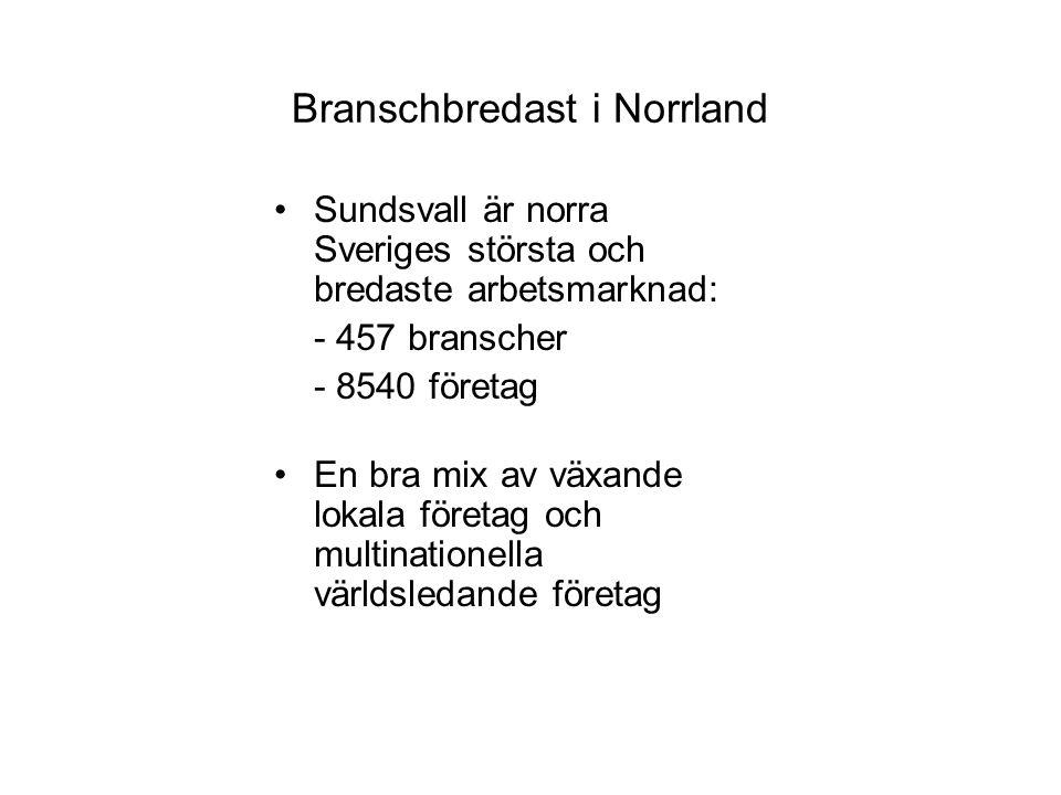 Branschbredast i Norrland Sundsvall är norra Sveriges största och bredaste arbetsmarknad: - 457 branscher - 8540 företag En bra mix av växande lokala företag och multinationella världsledande företag