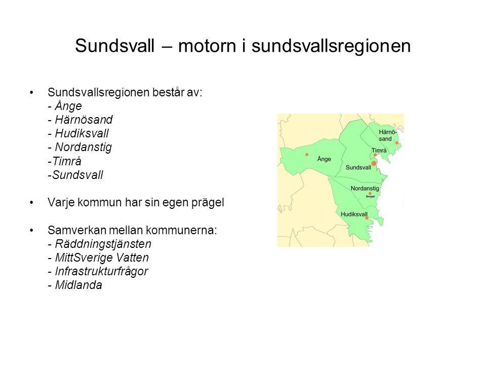 Sundsvall – motorn i sundsvallsregionen Sundsvallsregionen består av: - Ånge - Härnösand - Hudiksvall - Nordanstig -Timrå -Sundsvall Varje kommun har sin egen prägel Samverkan mellan kommunerna: - Räddningstjänsten - MittSverige Vatten - Infrastrukturfrågor - Midlanda