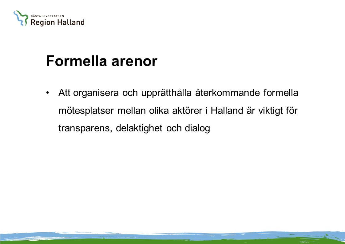 Formella arenor Att organisera och upprätthålla återkommande formella mötesplatser mellan olika aktörer i Halland är viktigt för transparens, delaktighet och dialog