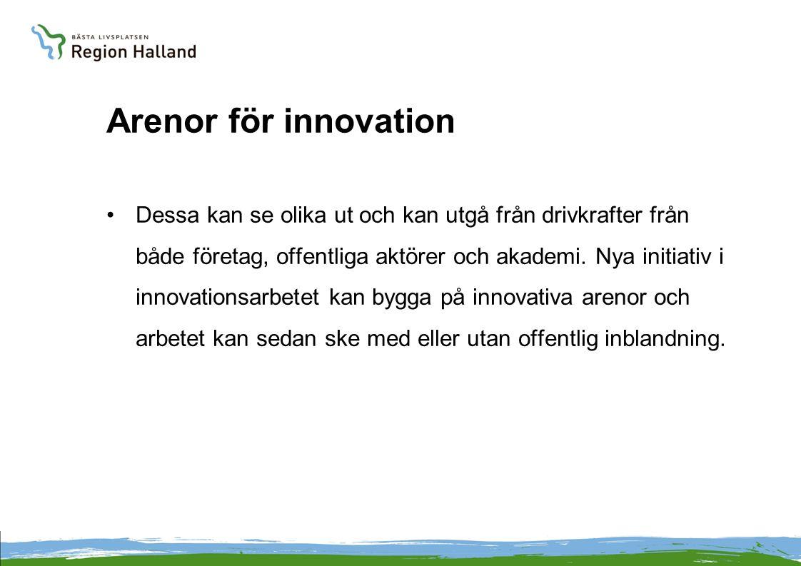 Arenor för innovation Dessa kan se olika ut och kan utgå från drivkrafter från både företag, offentliga aktörer och akademi.