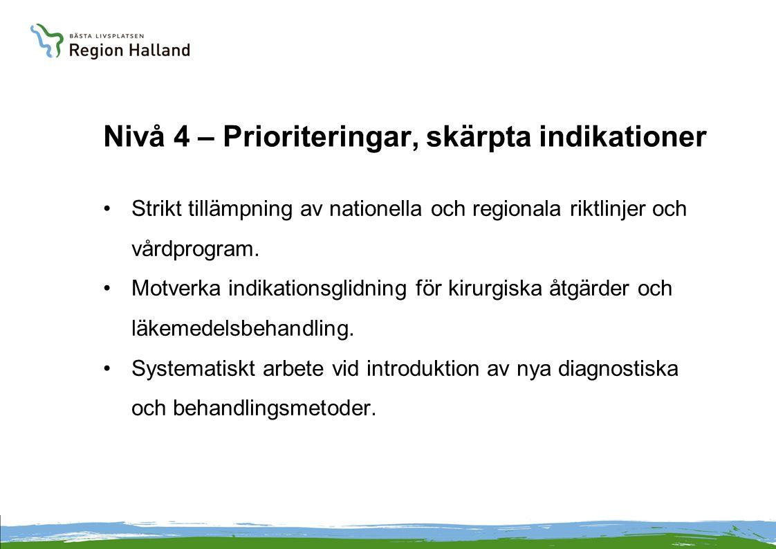 Nivå 4 – Prioriteringar, skärpta indikationer Strikt tillämpning av nationella och regionala riktlinjer och vårdprogram.
