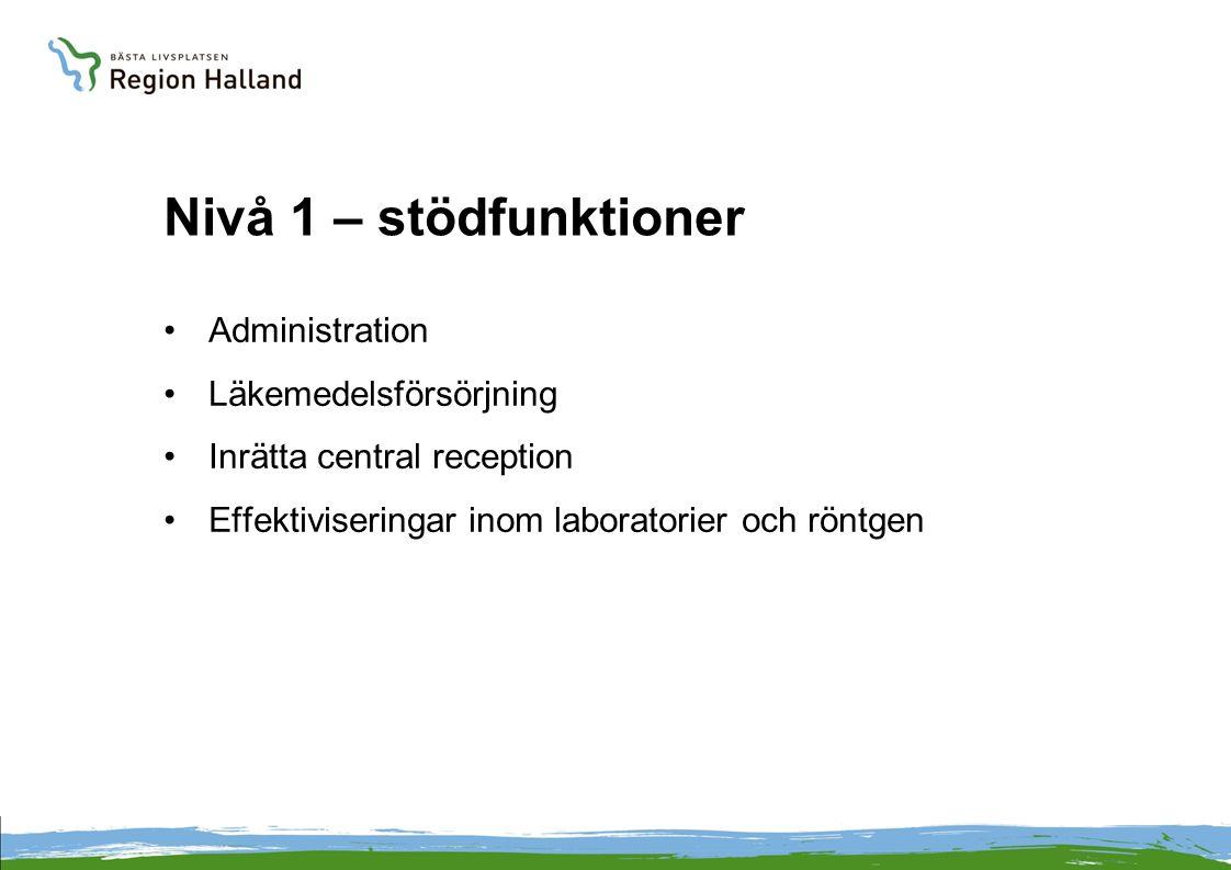 Nivå 1 – stödfunktioner Administration Läkemedelsförsörjning Inrätta central reception Effektiviseringar inom laboratorier och röntgen