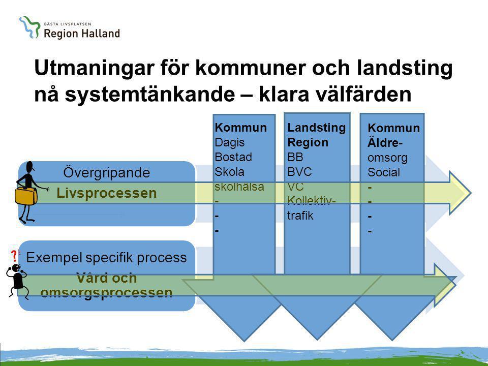 Utmaningar för kommuner och landsting nå systemtänkande – klara välfärden Övergripande Livsprocessen Exempel specifik process Vård och omsorgsprocesse