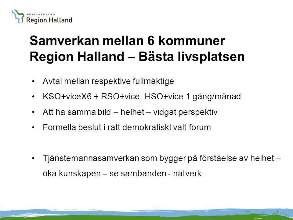 Samverkan mellan 6 kommuner Region Halland – Bästa livsplatsen Avtal mellan respektive fullmäktige KSO+viceX6 + RSO+vice, HSO+vice 1 gång/månad Att ha