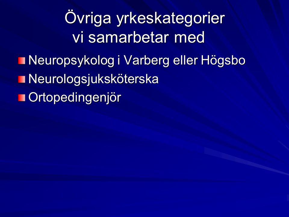 Övriga yrkeskategorier vi samarbetar med Neuropsykolog i Varberg eller Högsbo NeurologsjuksköterskaOrtopedingenjör