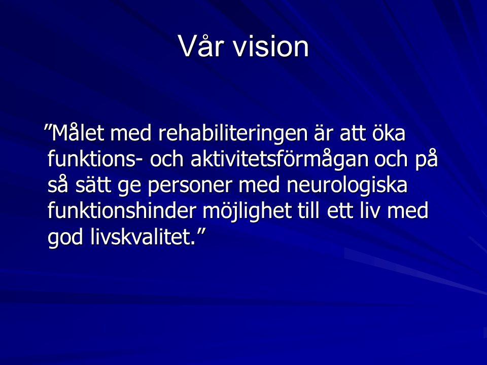 Vår vision Målet med rehabiliteringen är att öka funktions- och aktivitetsförmågan och på så sätt ge personer med neurologiska funktionshinder möjlighet till ett liv med god livskvalitet. Målet med rehabiliteringen är att öka funktions- och aktivitetsförmågan och på så sätt ge personer med neurologiska funktionshinder möjlighet till ett liv med god livskvalitet.