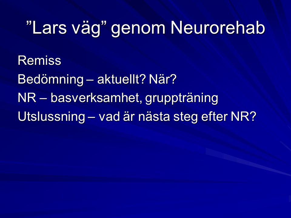 Lars väg genom Neurorehab Remiss Bedömning – aktuellt.