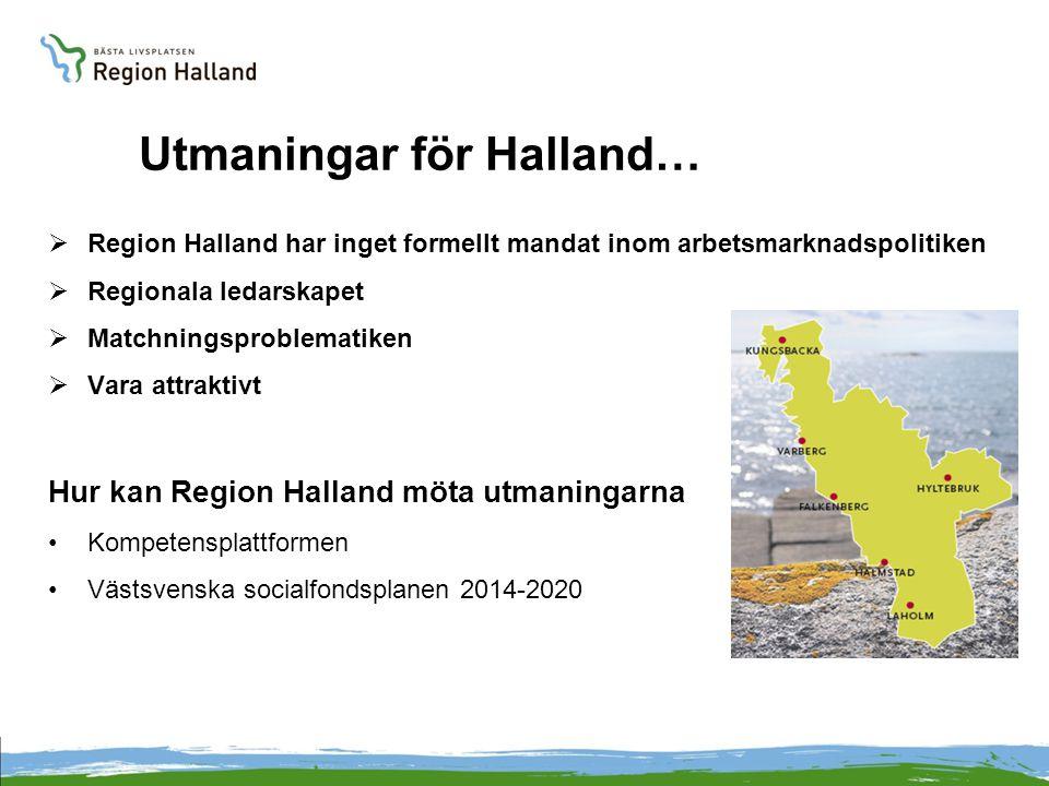 Utmaningar för Halland…  Region Halland har inget formellt mandat inom arbetsmarknadspolitiken  Regionala ledarskapet  Matchningsproblematiken  Va