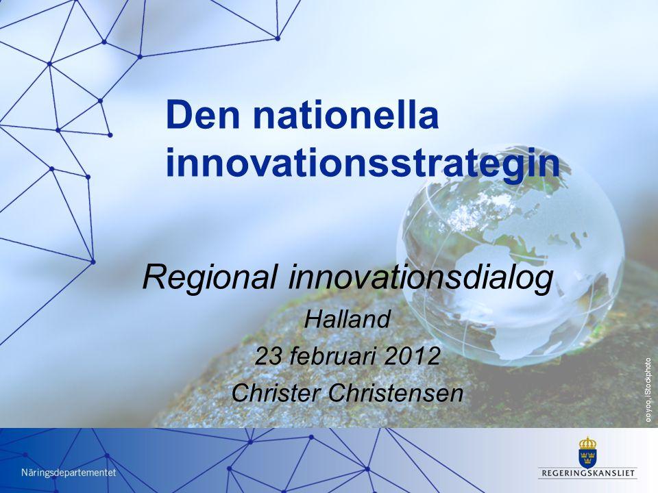 Strategiska perspektiv Vetenskaplig kunskap Institutioner och infrastrukturer Innovativa företag Innovativa människor Förutsättningar Innovativa regioner och miljöer Innovativ offentlig sektor och civilsamhälle Arenor för innovation