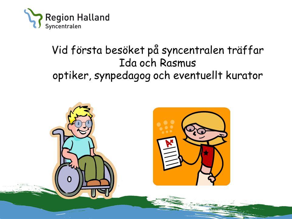 Vid första besöket på syncentralen träffar Ida och Rasmus optiker, synpedagog och eventuellt kurator