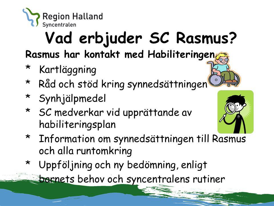 Vad erbjuder SC Rasmus? Rasmus har kontakt med Habiliteringen * Kartläggning * Råd och stöd kring synnedsättningen * Synhjälpmedel * SC medverkar vid