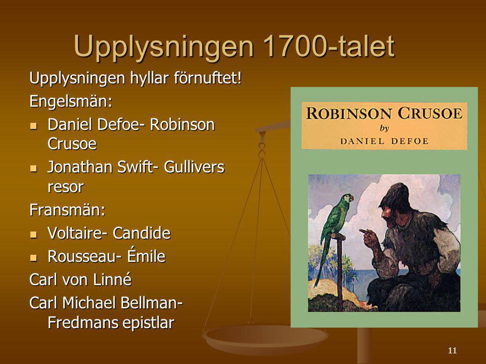 11 Upplysningen 1700-talet Upplysningen hyllar förnuftet! Engelsmän: Daniel Defoe- Robinson Crusoe Daniel Defoe- Robinson Crusoe Jonathan Swift- Gulli