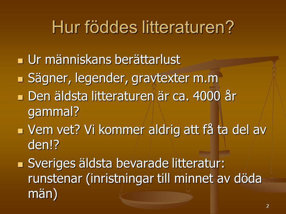2 Hur föddes litteraturen? Ur människans berättarlust Ur människans berättarlust Sägner, legender, gravtexter m.m Sägner, legender, gravtexter m.m Den