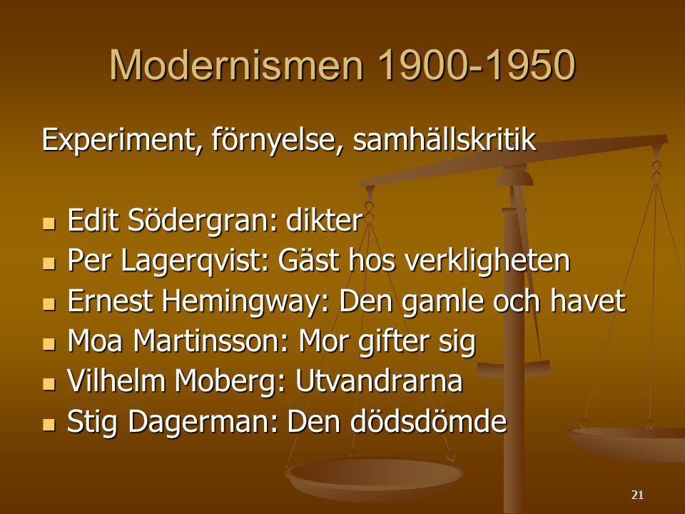 21 Modernismen 1900-1950 Experiment, förnyelse, samhällskritik Edit Södergran: dikter Edit Södergran: dikter Per Lagerqvist: Gäst hos verkligheten Per