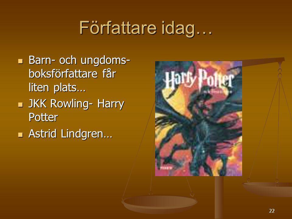 22 Författare idag… Barn- och ungdoms- boksförfattare får liten plats… Barn- och ungdoms- boksförfattare får liten plats… JKK Rowling- Harry Potter JK