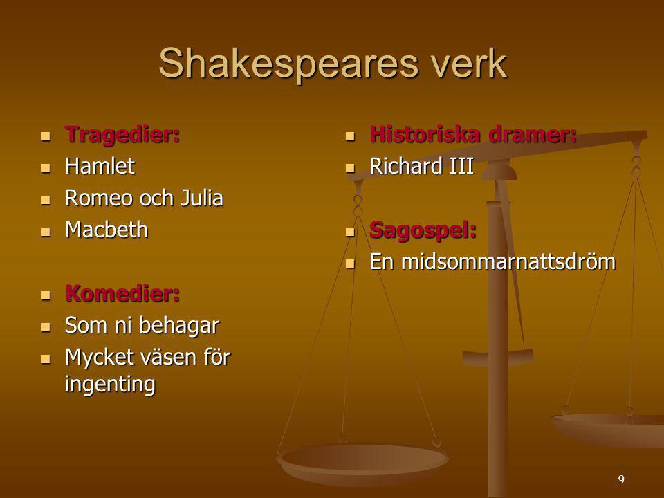 9 Shakespeares verk Tragedier: Tragedier: Hamlet Hamlet Romeo och Julia Romeo och Julia Macbeth Macbeth Komedier: Komedier: Som ni behagar Som ni beha
