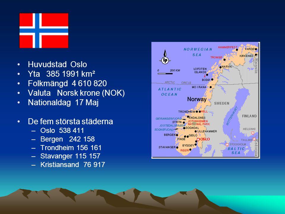 Huvudstad Oslo Yta 385 1991 km² Folkmängd 4 610 820 Valuta Norsk krone (NOK) Nationaldag 17 Maj De fem största städerna –Oslo 538 411 –Bergen 242 158