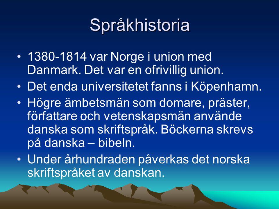 Språkhistoria 1380-1814 var Norge i union med Danmark. Det var en ofrivillig union. Det enda universitetet fanns i Köpenhamn. Högre ämbetsmän som doma