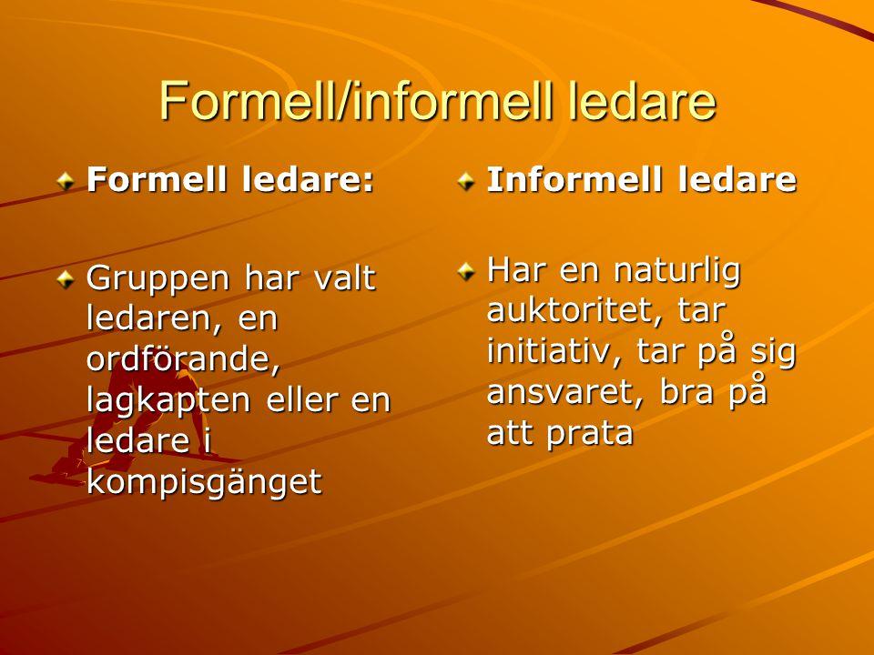 Formell/informell ledare Formell ledare: Gruppen har valt ledaren, en ordförande, lagkapten eller en ledare i kompisgänget Informell ledare Har en naturlig auktoritet, tar initiativ, tar på sig ansvaret, bra på att prata