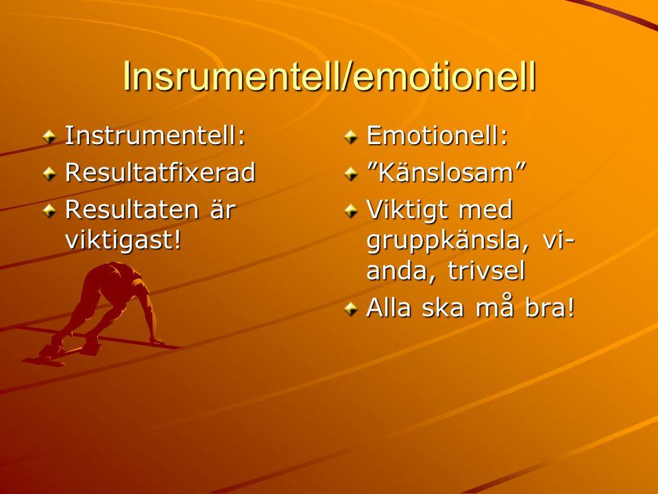 """Insrumentell/emotionell Instrumentell:Resultatfixerad Resultaten är viktigast! Emotionell:""""Känslosam"""" Viktigt med gruppkänsla, vi- anda, trivsel Alla"""