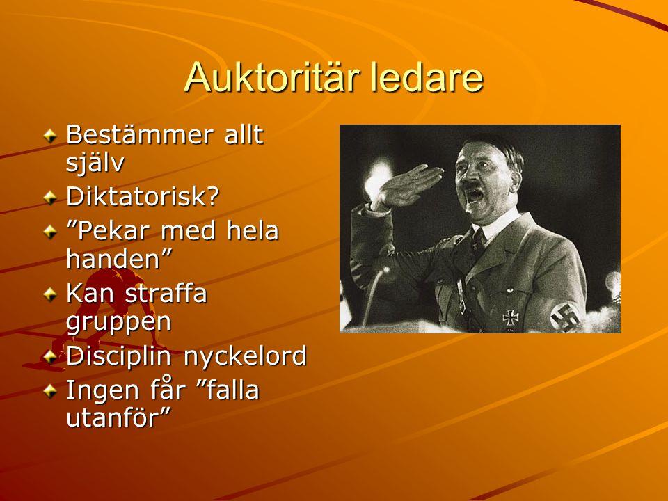 """Auktoritär ledare Bestämmer allt själv Diktatorisk? """"Pekar med hela handen"""" Kan straffa gruppen Disciplin nyckelord Ingen får """"falla utanför"""""""