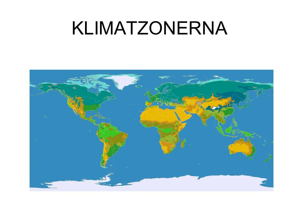 Man delar in jordklotets klimat i fyra huvudområden: Tropiska klimatzonen Subtropiska klimatzonen (eller Arida klimatzonen) Tempererade klimatzonen Arktiska klimatzonen (eller Polarzonen)