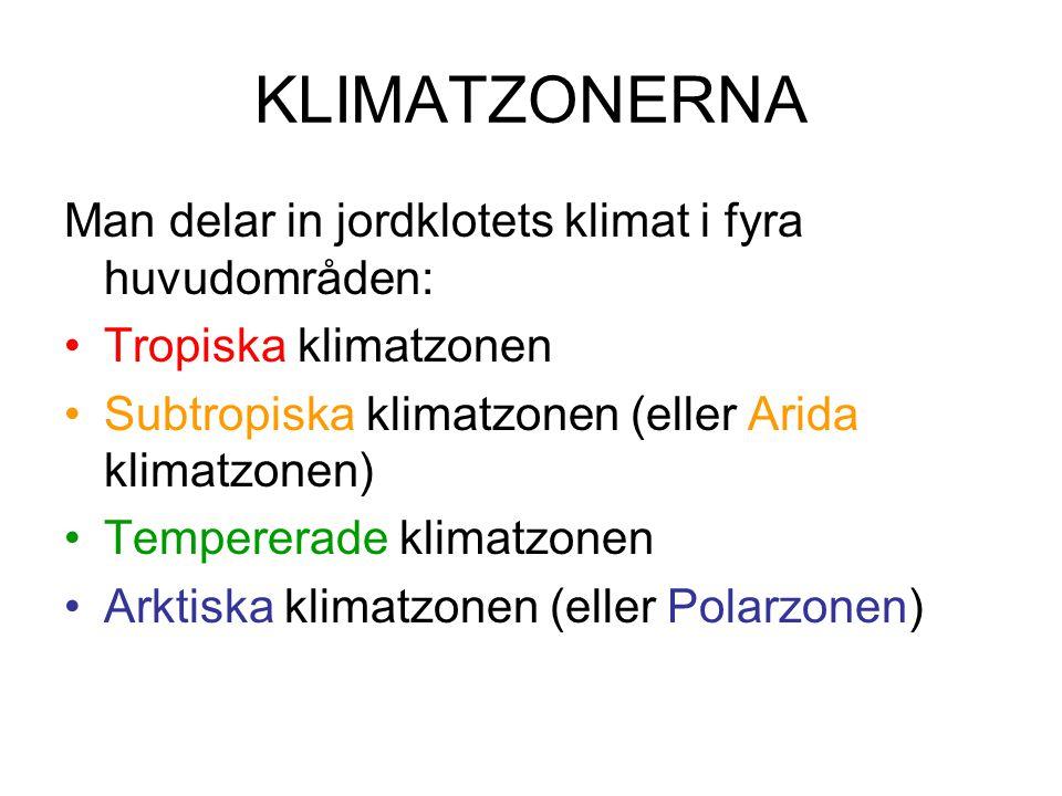 Varje klimatzon är sedan indelad i flera olika zoner, t.ex.