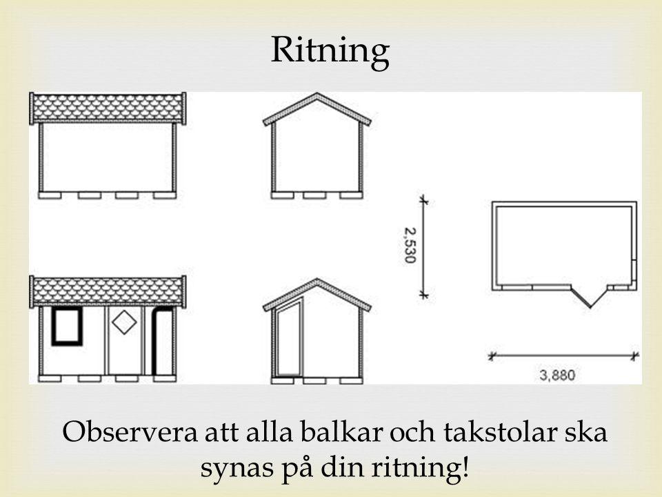Ritning Observera att alla balkar och takstolar ska synas på din ritning!