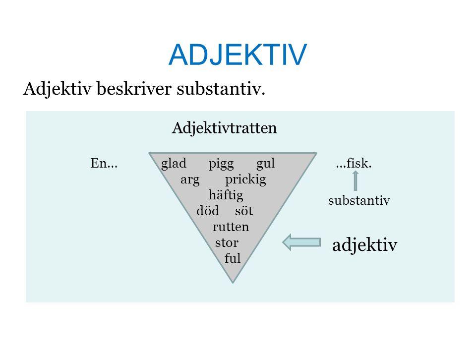 ADJEKTIV Adjektiv beskriver substantiv.