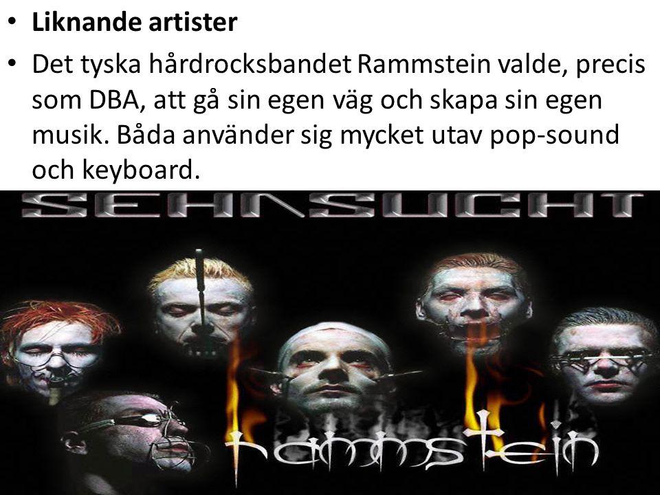 Liknande artister Det tyska hårdrocksbandet Rammstein valde, precis som DBA, att gå sin egen väg och skapa sin egen musik. Båda använder sig mycket ut