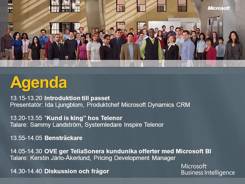 "13.15-13.20 Introduktion till passet Presentatör: Ida Ljungblom, Produktchef Microsoft Dynamics CRM 13.20-13.55 ""Kund is king"" hos Telenor Talare: Sam"