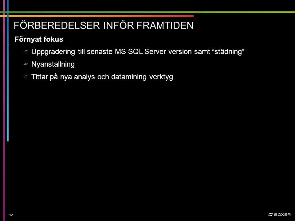 Konfidentiellt FÖRBEREDELSER INFÖR FRAMTIDEN 12 Uppgradering till senaste MS SQL Server version samt städning Nyanställning Tittar på nya analys och datamining verktyg Förnyat fokus