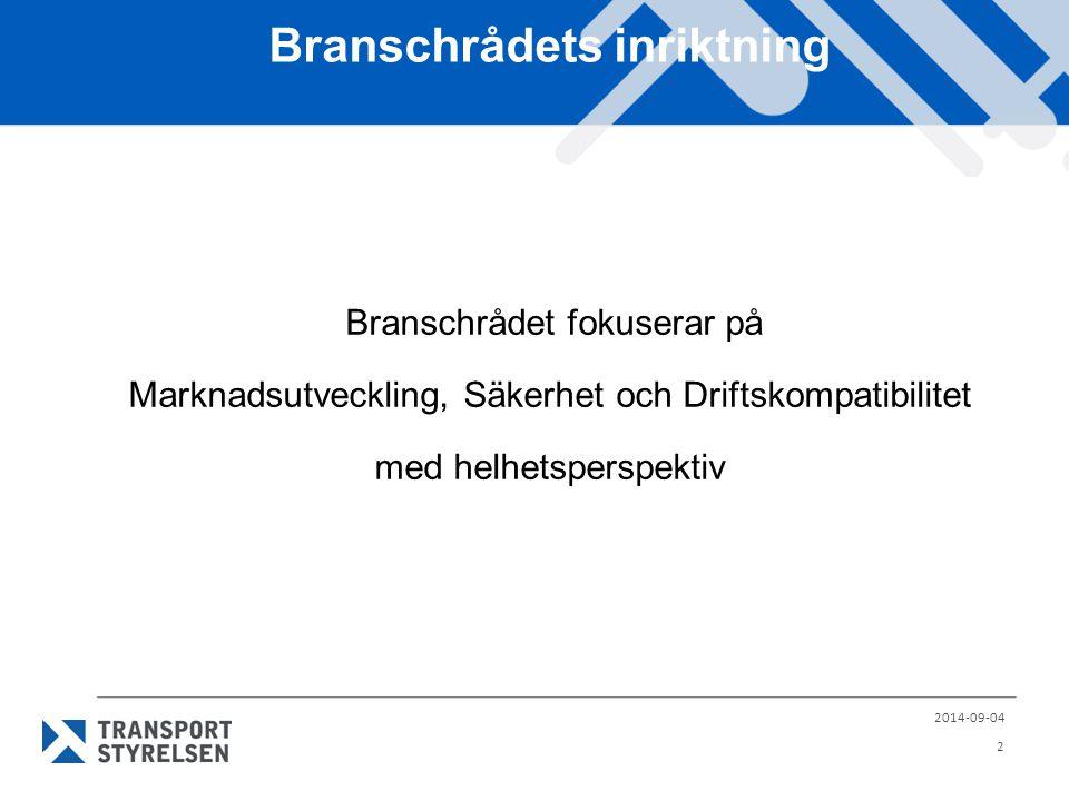 Branschrådets inriktning Mål  Rådet bidrar till instruktion och vägledning för experter och beslutsfattare i ERA-arbetet  Rådet gör Sveriges röst starkare i internationellt samarbete  Rådet ger kunskap om var och hur de viktiga besluten fattas och när/var det finns chans att påverka besluten  Rådet skapar ökad insikt för järnvägsbranschen om ERA- arbetets påverkan på investeringsbeslut och utövad verksamhet.