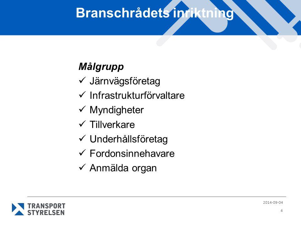 Branschrådets inriktning Målgrupp Järnvägsföretag Infrastrukturförvaltare Myndigheter Tillverkare Underhållsföretag Fordonsinnehavare Anmälda organ 2014-09-04 4
