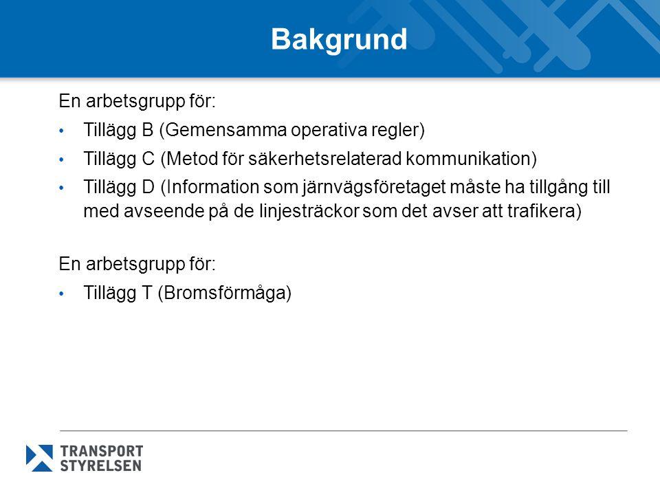 Bakgrund En arbetsgrupp för: Tillägg B (Gemensamma operativa regler) Tillägg C (Metod för säkerhetsrelaterad kommunikation) Tillägg D (Information som
