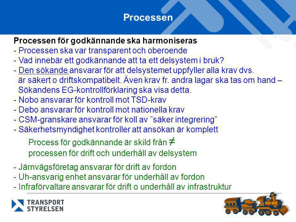 Processen Processen för godkännande ska harmoniseras - Processen ska var transparent och oberoende - Vad innebär ett godkännande att ta ett delsystem
