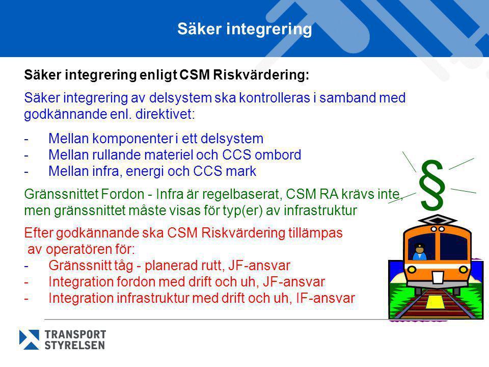 Säker integrering Säker integrering enligt CSM Riskvärdering: Säker integrering av delsystem ska kontrolleras i samband med godkännande enl. direktive