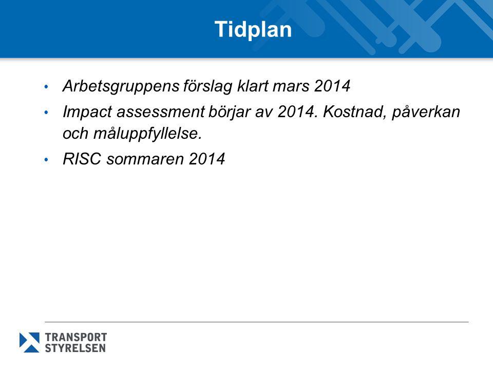 Tidplan Arbetsgruppens förslag klart mars 2014 Impact assessment börjar av 2014.
