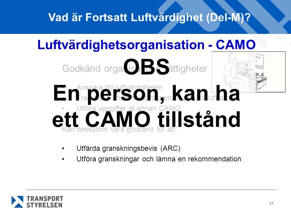 14 Luftvärdighetsorganisation - CAMO Godkänd organisations rättigheter Ansvara för luftvärdigheten Framställa underhållsprogram till privata luftfartyg Utföra uppgifter åt annan CAMO Kan dessutom vara godkänd för att: Utfärda granskningsbevis (ARC) Utföra granskningar och lämna en rekommendation Vad är Fortsatt Luftvärdighet (Del-M).