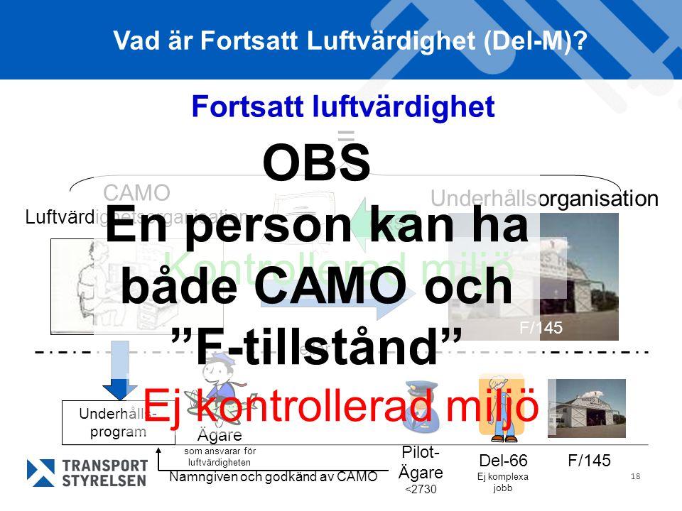 18 Fortsatt luftvärdighet Underhållsorganisation CAMO Luftvärdighetsorganisation = Vad är Fortsatt Luftvärdighet (Del-M).