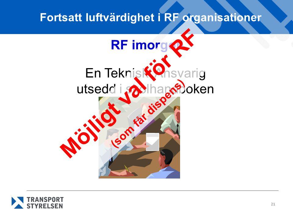 21 RF imorgon En Tekniskt Ansvarig utsedd i skolhandboken Fortsatt luftvärdighet i RF organisationer Möjligt val för RF (som får dispens)