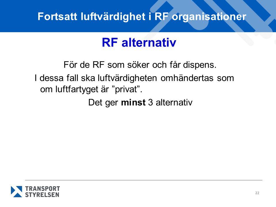 22 RF alternativ För de RF som söker och får dispens.